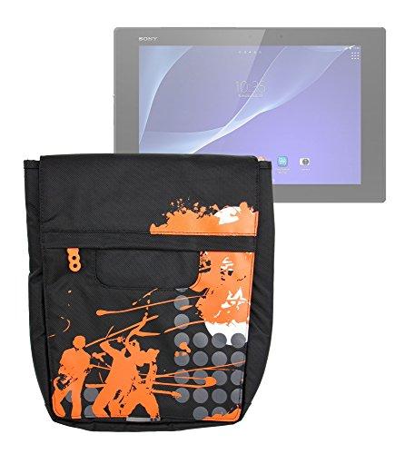 DURAGADGET Bolso Negro con Print En Color Naranja para Tablet MeMO Pad FHD 10 / Acer Iconia One 10 / Sony Xperia Z2