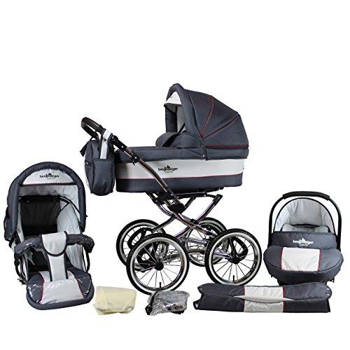 Bergsteiger Venedig Nostalgie Kinderwagen 3 in 1 Retro Kombikinderwagen Megaset 10 teilig inkl. Babyschale, Babywanne, Sportwagen und Zubehör (grey & red stripes)