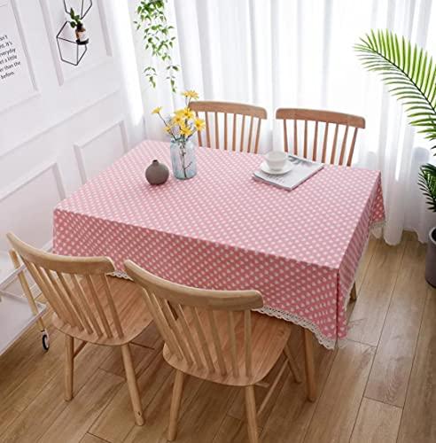 Mantel de algodón, patrón de corazón Rosa decoración Rectangular Mantel, Mantel de Lino, tapetes de Escritorio para Exteriores, Fiesta en la cocina140 * 200cm