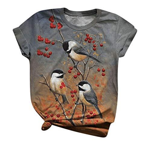 Womteam Camiseta de manga corta para mujer con estampado de animales de O-cuello Tops Tee Casual...