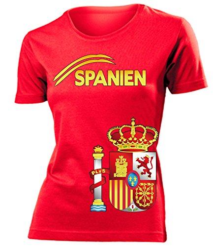 Spanien Espania Spain Fan t Shirt Artikel 3207 Fuss Ball World Cup Jersey EM 2020 WM 2022 Trikot Look Flagge Fahne Team Frauen Damen Mädchen L