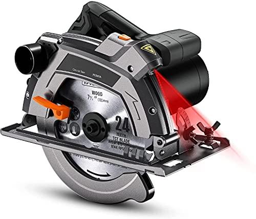 1500W Sega Circolare, 5000 giri/minuto, Protezione in Alluminio, 190mm/24T e 185mm/40T Lame, Sega Circolare per Legno con Laser - PES03A