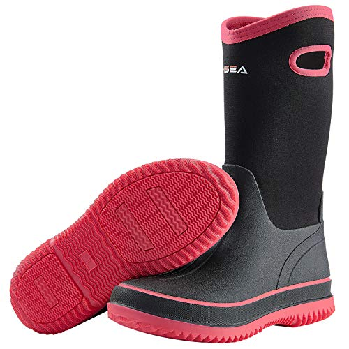winter rubber boots Hisea Rain Boots for Women Mid Calf Muck Rubber Boots Waterproof Neoprene Insulated Barn Boots for Mud Working Gardening