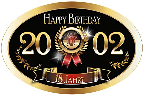 """""""Bester Jahrgang - 18 Jahre - Happy Birthday"""" 2002 der beste Jahrgang aller Zeiten Aufkleber"""
