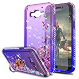 Galaxy J7 2015/J7 Neo/J7 Core/J7 Duos/J7 Nxt Case with HD Screen Protector With Ring Holder,KaiMai Glitter Moving Quicksand Clear Cute Shiny Girls Women Phone Case For Galaxy J7 J700-Pueple/Blue Ring