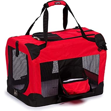 PET LIFE 'Deluxe 360° Vista View' Zippered Soft Folding Collapsible Metal Framed Pet Dog Crate House Carrier w/ Removable Bowl and Pop-out Tray, X-Large, Red