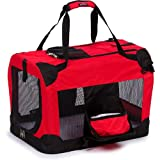 PET LIFE 'Deluxe 360° Vista View' Zippered Soft Folding Collapsible Metal Framed Pet Dog Crate House Carrier w/ Removable Bowl and Pop-out Tray, X-Small, Red
