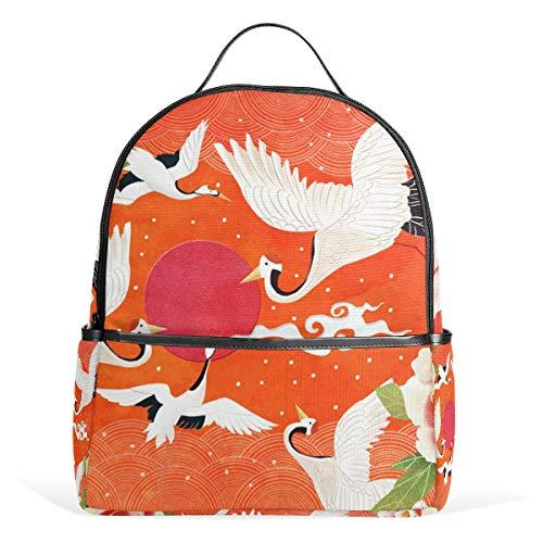 Mochila de lona con diseño de flor de peonía blanca de la grúa de la flor de la mochila de lona de gran capacidad, mochila casual de viaje para niños niñas niños y estudiantes