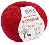 Biowolle Lane Mondial Bio Lana Fine Fb. 407 rot, 50g reine Schurwolle zum Stricken, Babywolle Bio