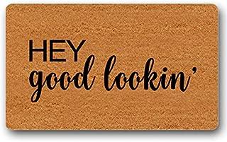 Hey Good Lookin' Doormat Welcome Door Mat Custom Outdoor Cute Wedding Gift Rug Entry Sign Funny Floor Mat Door Mat Non-Slip 30 by 18 Inch Machine Washable Indoor/Outdoor