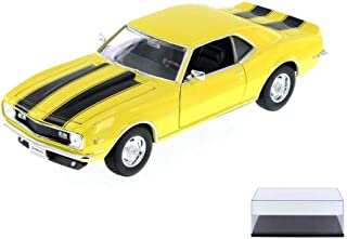 Welly Diecast Car & Display Case Package - 1968 Chevy Camaro Z28, Yellow w/ Black 22448WYL - 1/24 Scale Diecast Model Toy Car w/Display Case