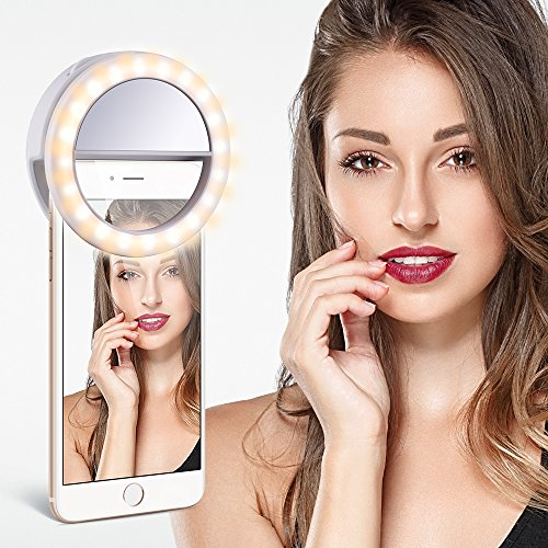 TYCKA Selfie Ring Light, 40 LED Selfie Light Ring Controllo Luminosità con Potenziometro, Clip USB Ricaricabile con Design a Molletta,per iPhone Samsung HTC iPad LG