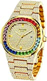 Luxury Bling-ed Out Colorful Full Diamond Watches Fashion Quartz Analog Stainless Steel Band Bracelet Wrist Watch (Gold)