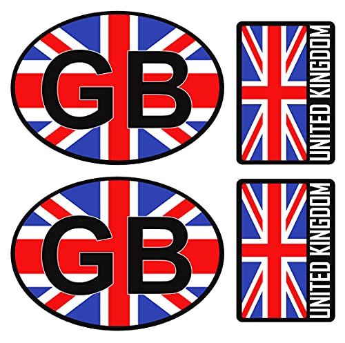 Biomar Labs® 4pcs Pegatina Reino Unido Britanica UK Inglesa Flag Bretaña Bandera Vinilo Adhesivo Sticker Coche Casco Motos Ciclomotores Bicicleta Ordenador Portátil D 12