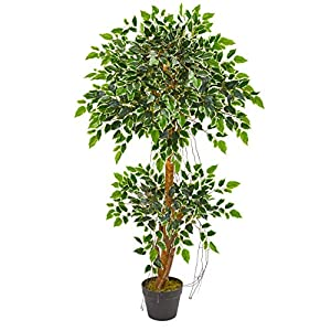 Silk Flower Arrangements Nearly Natural 4-Ft. Variegated Ficus Artificial Silk Trees Green