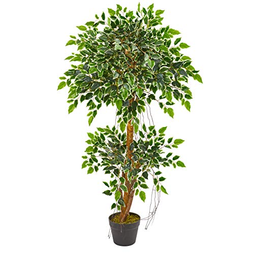 Nearly Natural 4-Ft. Variegated Ficus Artificial Silk Trees Green