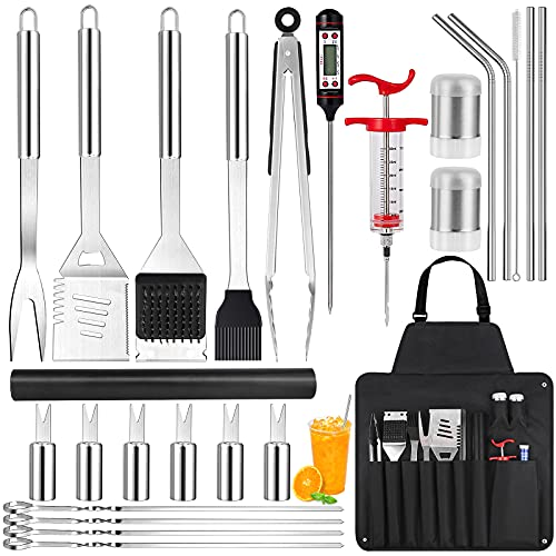 Cleansecr 26 PCS BBQ Grill Tools Kit Grilling Accessories Stainless Steel Barbecue Utensils Set with Grill Mat, Meat Thermometer, Premium Grill Set Ideal Gifts for Men Women Dad