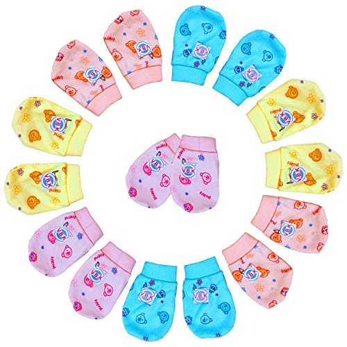 V.B.K Baby Boy and Baby Girl Mittens Set (8 Pair), Pure Hosiery Soft Fabric, 0 to 4 Months