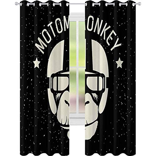 cortinas de dormitorio, Signo Alien Monkey con Astronauta Disfraz en una galaxia con estrellas Cartel, W52 x L108 Habitacin oscurecimiento cortina para sala de estar, negro blanco