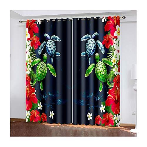 Daesar Lot Rideau Occultant, Rideaux Modernes Bleu Foncé Vert Rouge Rideau avec Motif Tortue et Fleurs Rideaux Occultants Oeillets 107x138CM