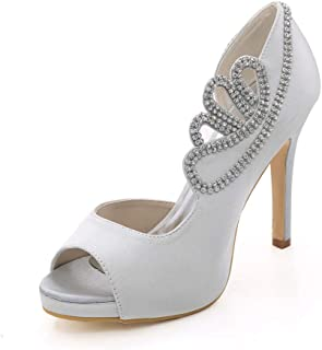 MNVOA Mariage Chaussures mariée Poisson Bouche Orteil avec 11cms Stiletto Slip sur Chaussures