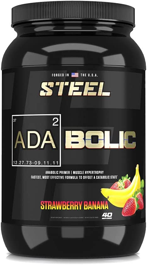 Steel Supplements ADABolic Pre Workout Muscle Recovery Drink, Muscle Builder for Men & Women | Restores Muscle Glycogen for Natural Growth | Strawberry Banana | 40 Servings, 3.75lbs
