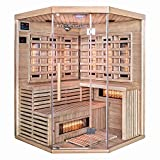 Home Deluxe – Infrarotkabine – Sahara XXL – Vollspektrumstrahler – Holz: Hemlocktanne -...