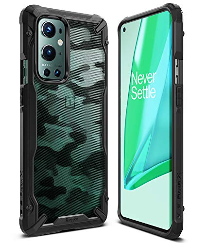 Ringke Fusion-X for OnePlus 9 Pro Case Back Cover, [Military Drop Tested] Ergonomic Camo Hard PC Back TPU Bumper Impact Resistant Protection for OnePlus 9 Pro Back Cover Case - Camo Black