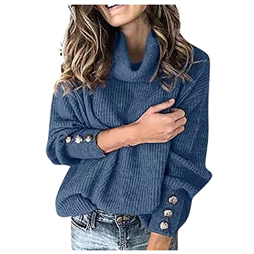 Sweaters for Women Turtle Neck Button Long Sleeve Knitted Solid Color Oversized Fall Plus Size Loose Winter Warm Slim Fit Elegant Tops Pullover Cowl Jumper(Blue,Small)