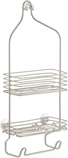 iDesign Classico Shower Metal Rust Resistant Hanging Shower Caddy with Towel Hanger and Two Hooks-for Shampoo, Conditioner, Razors, Towels and more-9.5