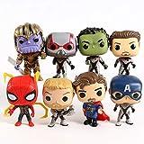 xingguang Figura de anime Vengadores Endgame Iron Ant Man Capitán América Hulk Thor Spiderman Doctor Strange Thanos figuras de acción Big Head Toys 8pcs/set (color : bolsa)
