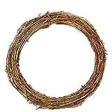 MoGist Corona de Navidad, guirnalda de ratán, corona de madera, accesorios decorativos (redondo, 10 cm)
