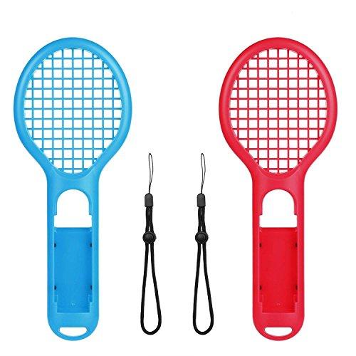 Voviqi Raqueta de Tenis para Nintendo Switch, Raqueta de Tenis Joy-con para Nintendo Switch Juegos somatosensoriales como Mario Tennis Aces (2 Paquetes) (Azul y Rojo)