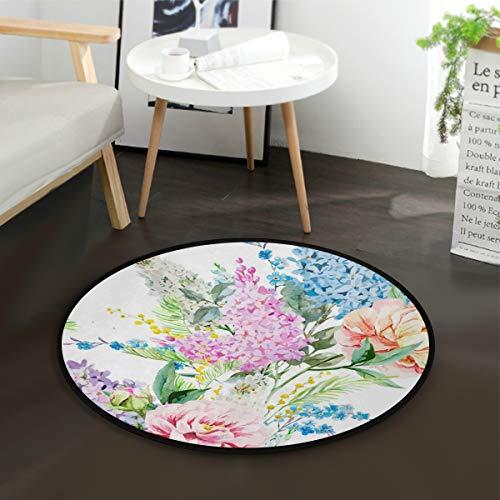 LUPINZ Teppich, Pfingstrosen, rund, rutschfest, Aquarell, fliederfarben, Pfingstrosen, Blumen-Teppich, Fußmatte für Zimmer
