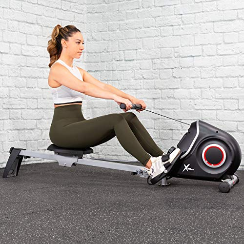 XtremepowerUStra-Quiet Foldable Magnetic Rower Machine Exercise Workout Rowing 10 Adjustable Resistance w/LCD Display