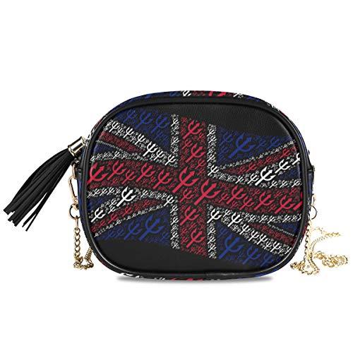 Damen Handtasche mit Quasten, Motiv Großbritannien-Flagge, leicht