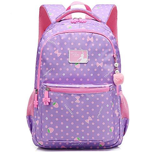HASAGEI Schulranzen Schulrucksäcke Schultasche Daypacks Backpack für Kinder Mädchen Jungen Jugendliche Schulrucksäcke mit Gurt M/S 45 * 30 * 16/41 * 27 * 13 cm 22/15 Liters (Purple, M)