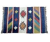 Handwerk Bazarr Combo: Kelim-Teppich Dhurrie, Set mit 5 indischen traditionellen Teppichen, 2 x 90 cm Wolle, Juteteppich, Akzentteppich, umweltfreundlich, erdige Heimdekoration - 9