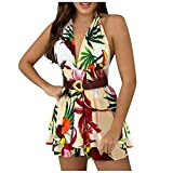 Women's Summer V-neck Fashion Sleeveless Pleated Ruffles Mini Beach Dress