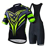 Men's Cycling Suit Short Sleeve Cycling Clothing Set Comfortable Quick Dry Riding Sportswear with Jersey and Padded Shorts for Summer (A2,XXXL)