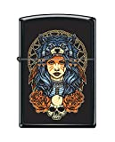 Zippo Custom Lighter Design Women in Wolf Head Dress with Skull and Roses Windproof Collectible - Cool Cigarette Lighter Case Made in USA Limited Edition & Rare