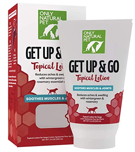 Only Natural Pet Get Up & Go Topical Muscle & Joint Soothing Lotion for Dogs, Muscle Rub Naturally Reduces Aches & Swelling - Dog Hip and Joint Support Cream - 3.4 oz