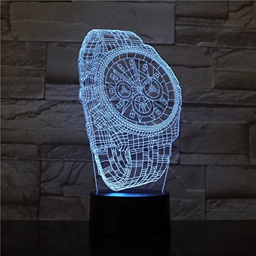 Reloj De Pulsera Abstracto Con Forma De 7 Cambio De Color Interruptor Táctil Sueño Del Bebé Lámpara De Luz Nocturna Usb Creativa 3D Para Decoración Del Hogar