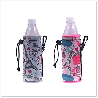 E - Living 500ML (16.9 OZ) Collapsible Printed Neoprene Water Bottle Drawstring Cooler/Coolie/Cover/Insulator/Holder/Huggie/Sleeve - 2 Pack (12 Colors) (Paris & Love in Paris)
