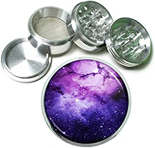 Purple Galaxy Em2 Silver Chrome 63mm Aluminum Magnetic Metal Herb Grinder 4 Piece Hand Muller Spices & Herb Heavy Duty 2.5
