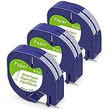 Anycolor kompatible Schriftband Ersatz für Dymo Letratag Papier Etikettenband, 91220 91200 10697 schwarz auf weiß schriftband12mm x 4m für Dymo LetraTag XR, LT-100T, LT-100T, LT-100H Plus, 3er-Pack