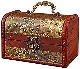 Caja de madera de almacenamiento de madera con asa, Casas decorativas para el hogar Memorial, recuerdo, joyería, joyería y caja de regalo, retro chino