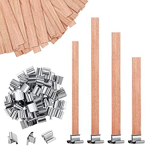 Mechas de Vela de Madera Natural Núcleos de Velas de Madera Gruesos con Soporte de Hierro para Fabricación de Velas, 4 Tamaños (50)
