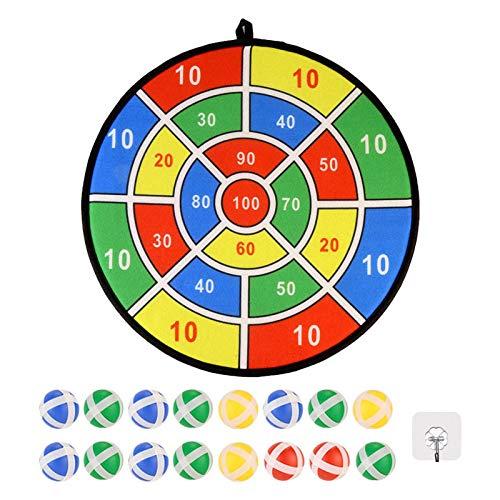 Dent Kinder Dartscheibe, Kinderspiel Dartscheibe mit 16 Klettbällen, Stoff Dartscheibe Klett Dartscheibe Spiel Sicheres Dartspiel Geschenk für Kinder(36cm)