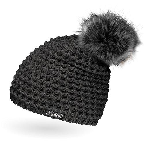 Neverless Damen Strickmütze mit Fell-Bommel und Fleece gefüttert, Kunstfell, Winter-Mütze, Bommelmütze, dunkelgrau Unisize